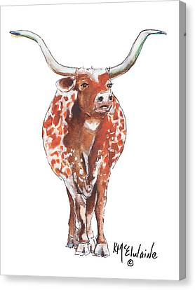 Texas Longhorn Taking The Lead Watercolor Painting By Kmcelwaine Canvas Print