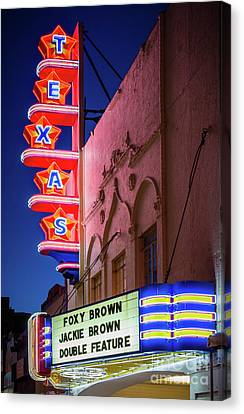 Texas Theater Neon Sign Canvas Print by Inge Johnsson