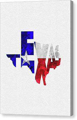 Fourth Of July Canvas Print - Texas Typographic Map Flag by Inspirowl Design