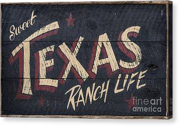 Texas Wood Sign Canvas Print by Mindy Sommers