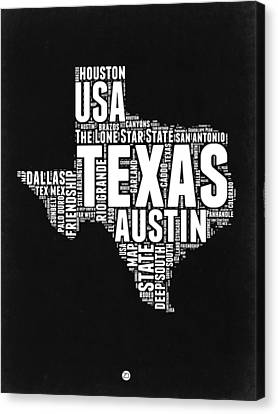 Texas Word Cloud Black And White Map Canvas Print by Naxart Studio