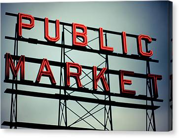 Text Public Market In Red Light Canvas Print by © Reny Preussker