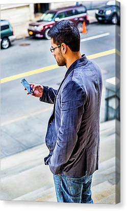 Man Texting Canvas Print