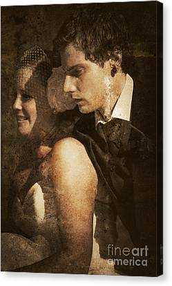 Textured And Faded Vintage Wedding Photograph  Canvas Print