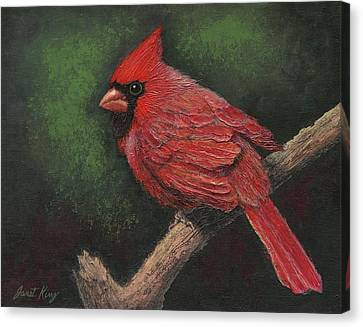 Textured Cardinal Canvas Print by Janet King