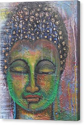 Canvas Print featuring the painting Textured Green Buddha by Prerna Poojara