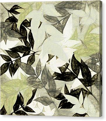 Canvas Print featuring the digital art Textured Leaves Abstract By Kaye Menner by Kaye Menner