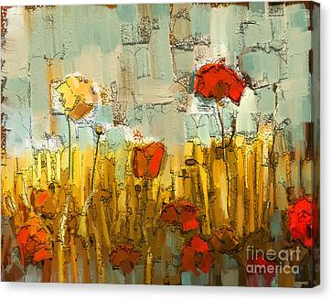 Textured Poppies Canvas Print