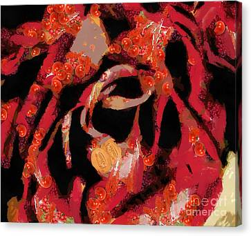 Canvas Print featuring the painting Textured Rose Velvetty Red  by Catherine Lott