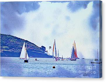 Textured Yachts Canvas Print by Terri Waters