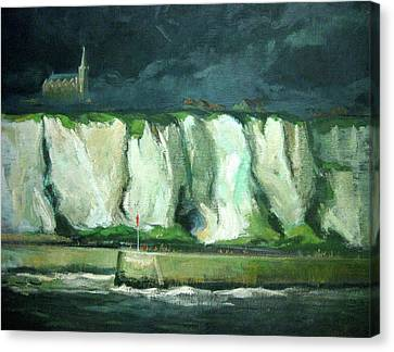 Tha Cliffs Of Etretat At Night Canvas Print by Zois Shuttie