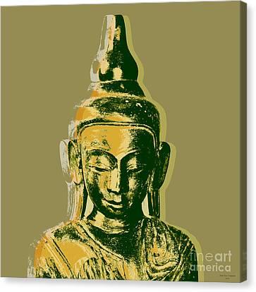Canvas Print featuring the digital art Thai Buddha #4 Pop Art Warhol Style Print.  by Jean luc Comperat