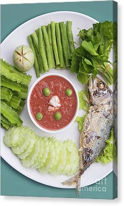 Canvas Print featuring the photograph Thai Chili Paste by Atiketta Sangasaeng