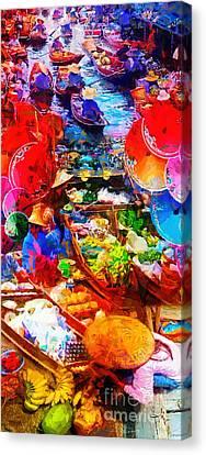 Thai Floating Market Canvas Print