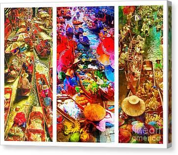 Canvas Print - Thai Market Triptych by Mo T
