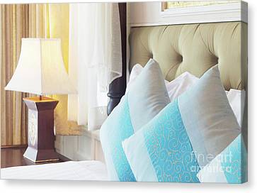 Canvas Print featuring the photograph Thai Style Bedroom by Atiketta Sangasaeng