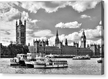 Thames River In London Bw Canvas Print by Mel Steinhauer