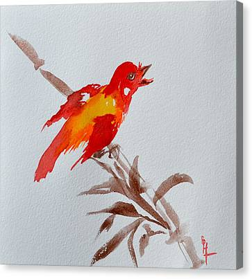 Thank You Bird Canvas Print by Beverley Harper Tinsley