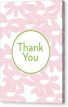Thank You Card Pink Flowers- Art By Linda Woods Canvas Print by Linda Woods