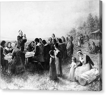 Sermon Canvas Print - Thanksgiving At Plymouth, Massachusetts by American School
