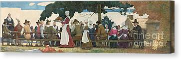 Thanksgiving Banquet Canvas Print by Newell Convers Wyeth