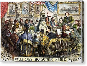 Thanksgiving Cartoon, 1869 Canvas Print by Granger