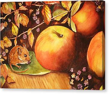 Thanksgiving Mouse Guest Canvas Print by Patricia Pushaw