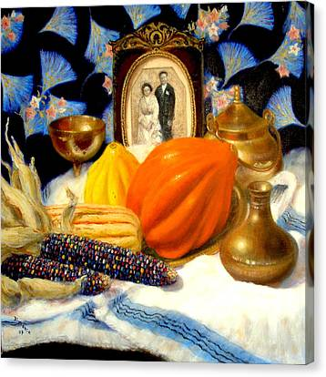 Canvas Print featuring the painting Thanksgiving Of The Past by Donelli  DiMaria