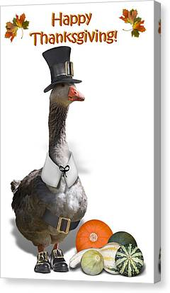 Thanksgiving Pilgrim Goose Canvas Print