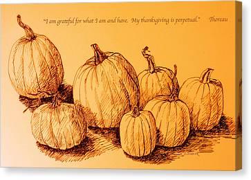 Thanksgiving Pumpkins Canvas Print by Deborah Dendler