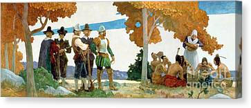 Thanksgiving With Indians Canvas Print by Newell Convers Wyeth