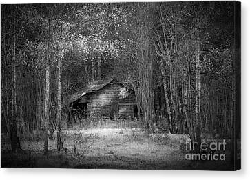That Old Barn-bw Canvas Print by Marvin Spates