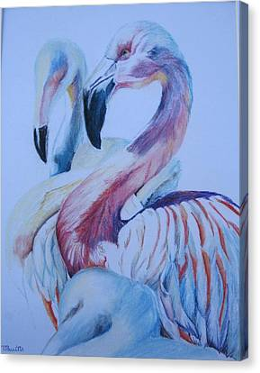The 3 Flamingos Canvas Print