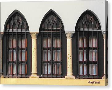 Canvas Print featuring the photograph The 3 Windows by Digital Oil