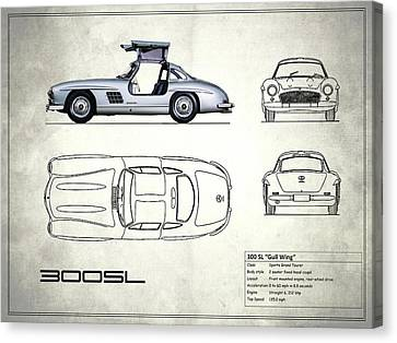 the 300 sl gullwing blueprint white canvas print