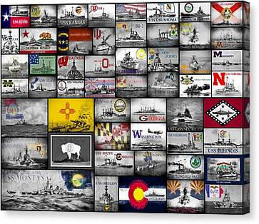 Canvas Print featuring the digital art The 50 States And Their Battleships by JC Findley