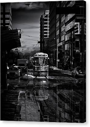 Canvas Print featuring the photograph The 512 St. Clair Streetcar Toronto Canada Reflection by Brian Carson