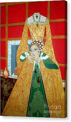 The 5th, Beheaded -- Tudor Portrait, Catherine Howard, #3 In Famous Flirts Series Canvas Print by Jayne Somogy