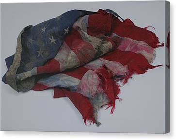 The 9 11 W T C Fallen Heros American Flag Canvas Print by Rob Hans