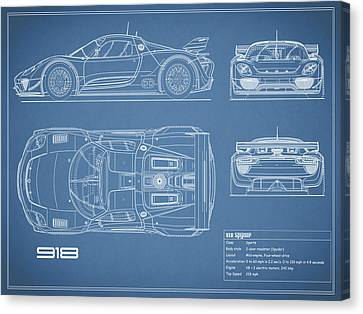 Hybrid Canvas Print - The 918 Spyder Blueprint by Mark Rogan