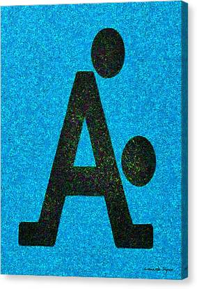 Two Canvas Print - The A With Style Blue - Da by Leonardo Digenio