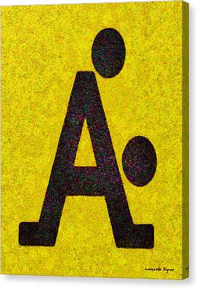 Two Canvas Print - The A With Style Yellow - Da by Leonardo Digenio