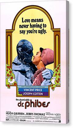 Horror Fantasy Movies Canvas Print - The Abominable Dr. Phibes, From Left by Everett