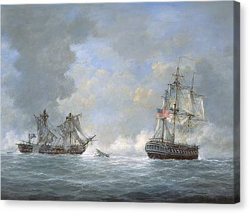 The Action Between Us Frigate United States And The British Frigate Macedonian Canvas Print by Richard Willis