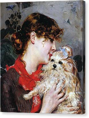 Head And Shoulders Canvas Print - The Actress Rejane And Her Dog by Giovanni Boldini