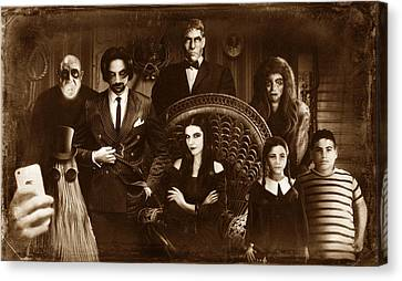The Addams Family Sepia Version Canvas Print by Alessandro Della Pietra