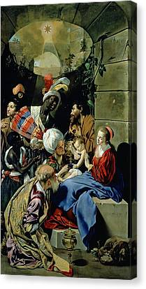 Madonna And Child Canvas Print - The Adoration Of The Kings by Fray Juan Batista Maino