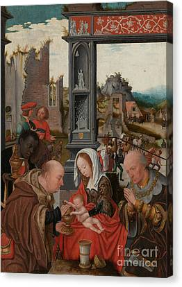 Nativity Canvas Print - The Adoration Of The Magi by Jan Mostaert