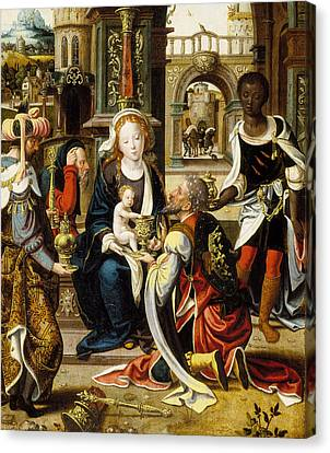 The Adoration Of The Magi Canvas Print by Pieter Coecke van Aelst