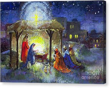 Three Kings Canvas Print - The Adoration Of The Magi  by Stanley Cooke